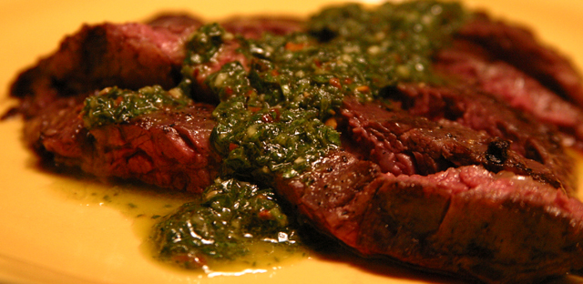 Grilled Skirt Steak with Chimichurri Sauce