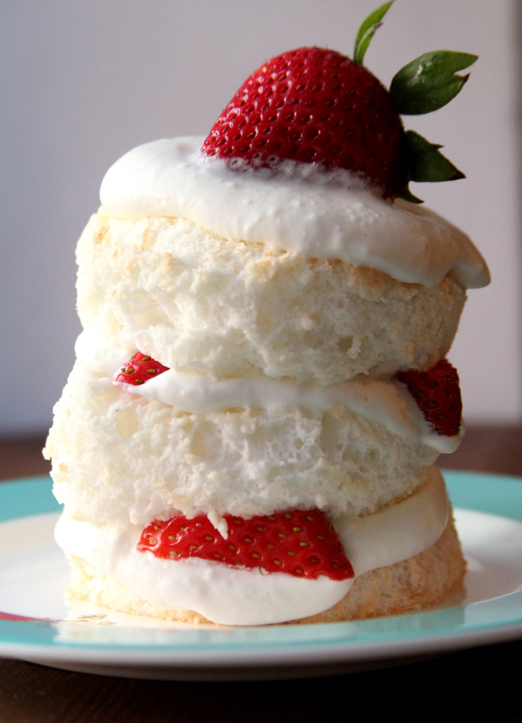 Mini Angel Food Cakes with Strawberries & Whipped Cream